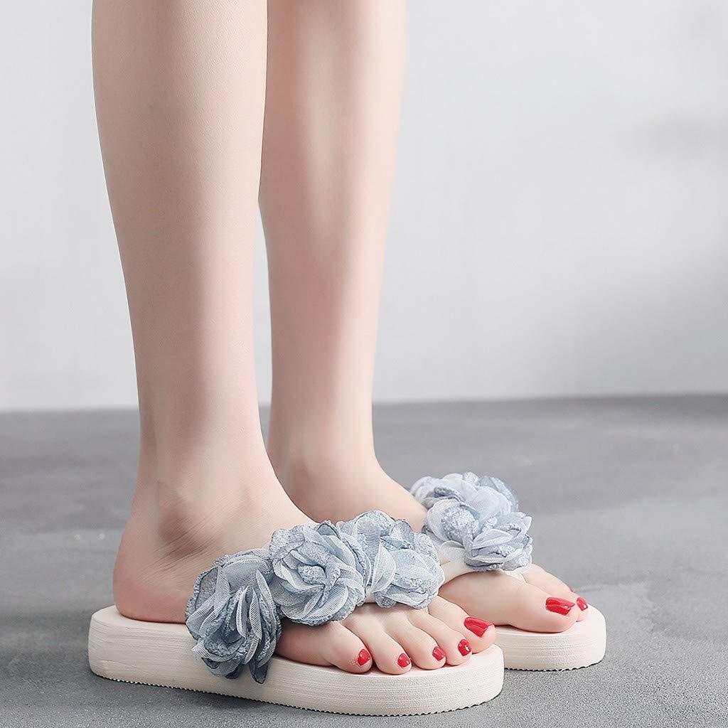 JIUZHOU Slipper Mode Femme Tongs Femmes Slip-on Bout Ouvert D/écoration Florale Compens/ées Chausson Chaussures Plates /Épaisses Bas Plage Tongs