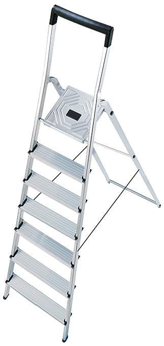 Hailo L40 BasicLine Alu-Sicherheits-Stehleiter 8140-807 Eimerhaken schwarzer Halteb/ügel EasyClix made in Germany 8 Stufen