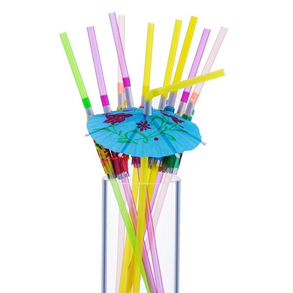 Quanjucheer 50pcs Vendilo jetables Bend Paille Drôles d'été Beach Party boire Fournitures Flexible 0.5cm x 24cm/couleur aléatoire