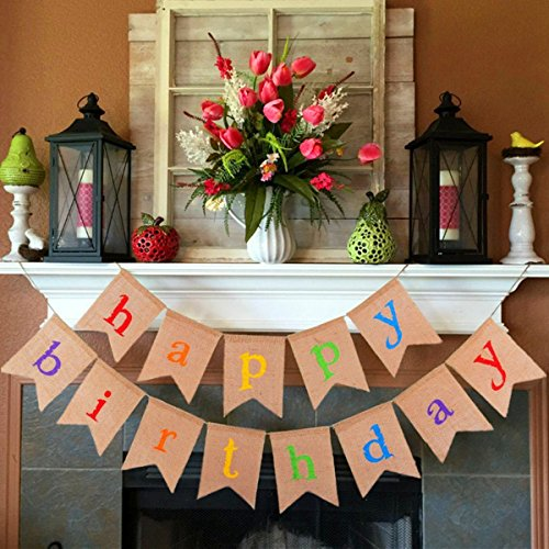 Burlap Happy Birthday Banner, Colorful Happy Birthday Banner for Birthday Party Decorations VAG041S]()