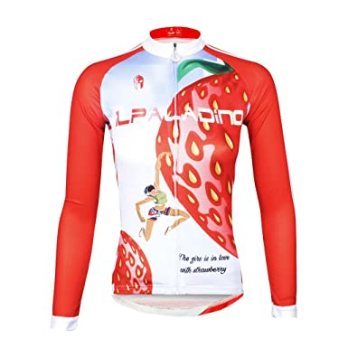 e5d3161d0 QinYing Women Red Strawberry Breathable Full Invisiable Zipper Cycling  Jersey XS