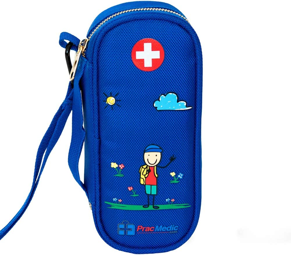 PracMedic EPIPEN Carrying Case for Kids- Holds 2 Epi Pens or Auvi-Q, Asthma Inhaler, Generic Benadryl Small, Nasal Spray, Eye Drops, Medicine, Vials, Syringes, Ice Pack- Sold Empty (Blue)
