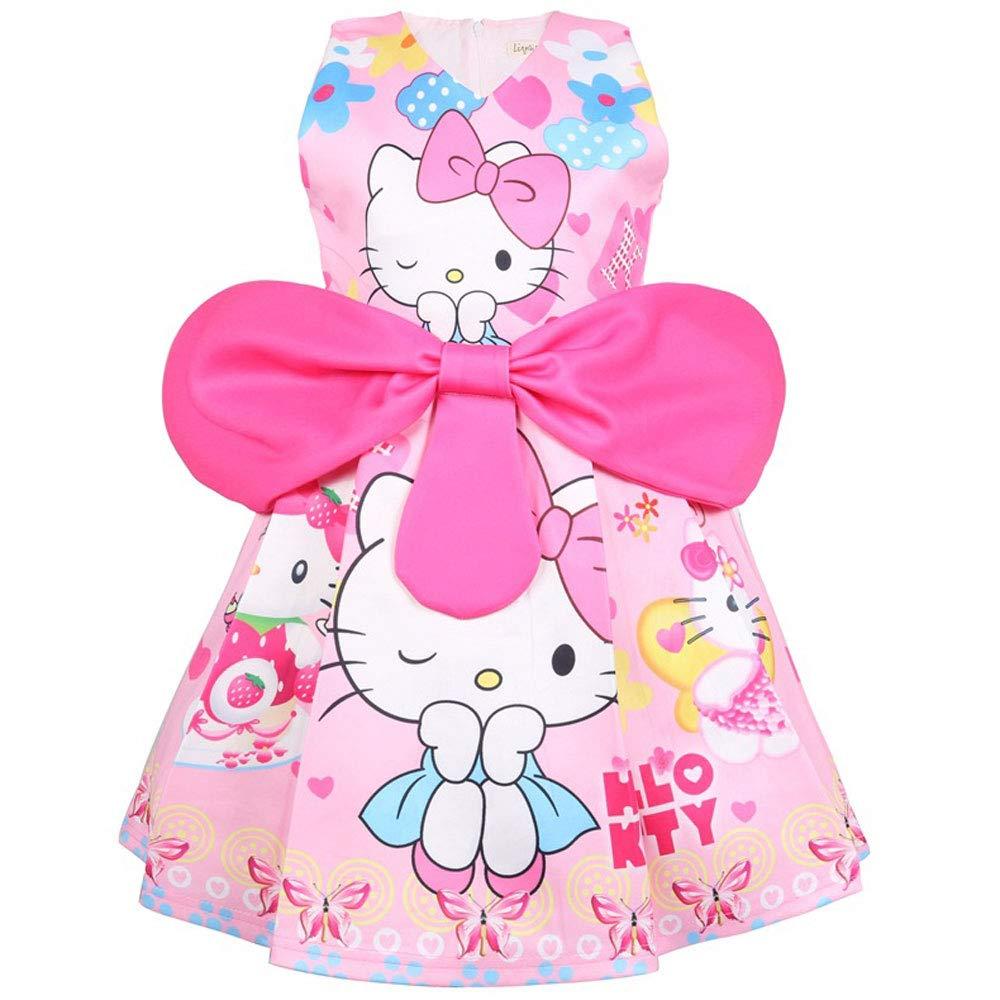 QYS Vestido con Lazo de cumpleaños de Hello Kitty Little ...