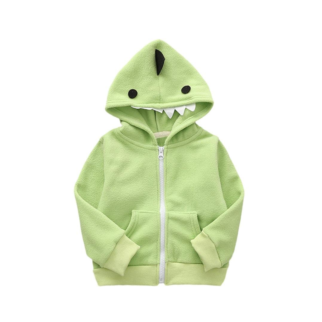 D-XinXin Childrens Autumn And Winter Shaking Grain Embroidered Cartoon Animal Hooded Jacket Top
