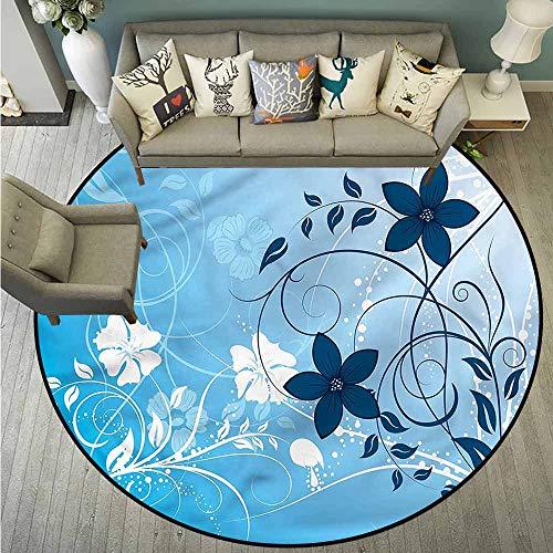 Living Room Round Mat,Floral,Flower Petals Nature Essence,Anti-Slip Doormat Footpad Machine Washable,4'11