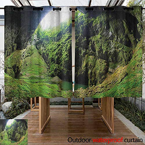 AndyTours Outdoor Blackout Curtain,Natural Cave,Punkevni Cave in Czech Republic European Geological Formation Myst Hole Landscape,Curtains for Living Room,K160C115 Green