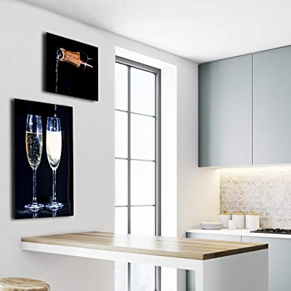 Quique Photography TM Bar Decor Collage Of Two Pictures Champagne Pouring Into Glasses Ideal