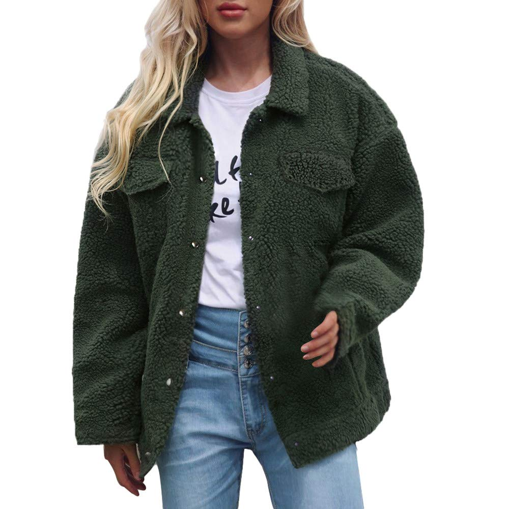 aliveGOT Women Faux Fur Coat Velvety Open Front Coat Jackets with Pockets Outerwear (3XL, Army Green)