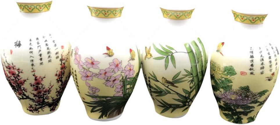 Echaprey Set of 4 Chinese Style Oriental Ceramics Vase Design Refrigerator Magnets Creative Grow Plants in Fridge Magnet (Plants B)