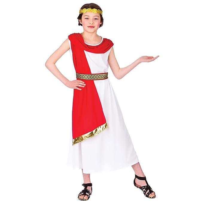 Amazon.com: Las niñas Blanco Antiguo Princesa Disfraz romano ...