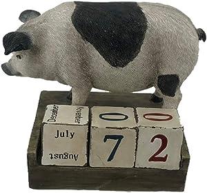 """Comfy Hour 5"""" Polyresin Pig Calendar Home Decorative Figurine"""