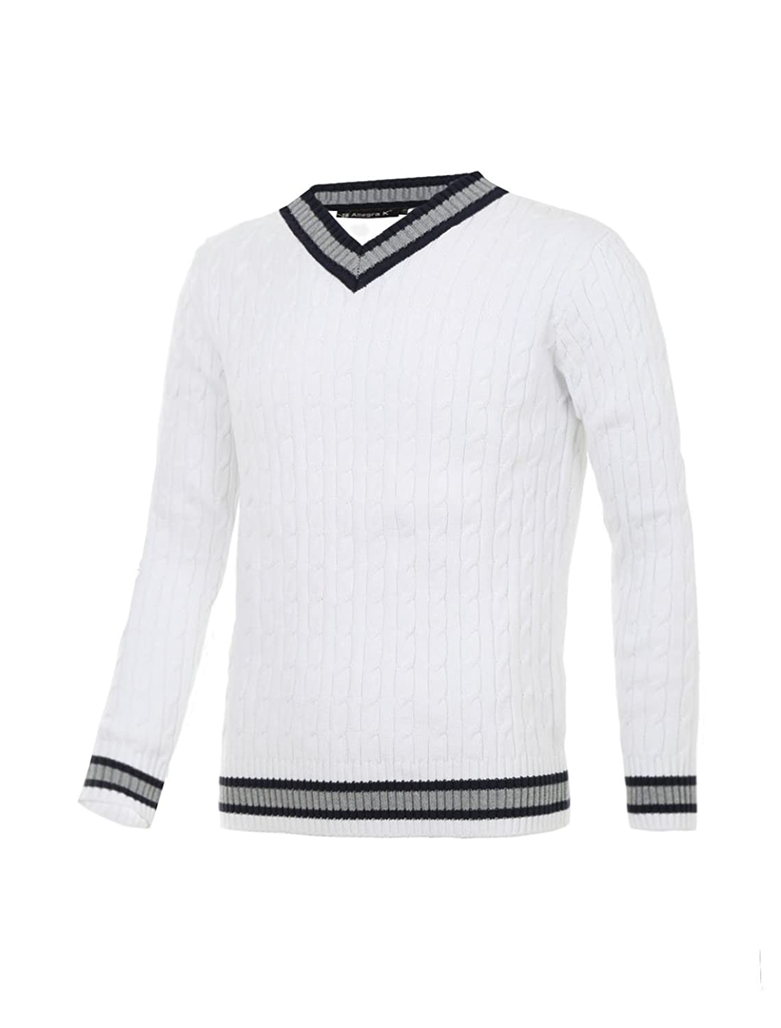 Men's Vintage Sweaters – 1920s to 1960s Retro Jumpers Allegra K Men V Neck Cable Pattern Ribbed Long Sleeves Pullover Knitted Sweater $30.50 AT vintagedancer.com