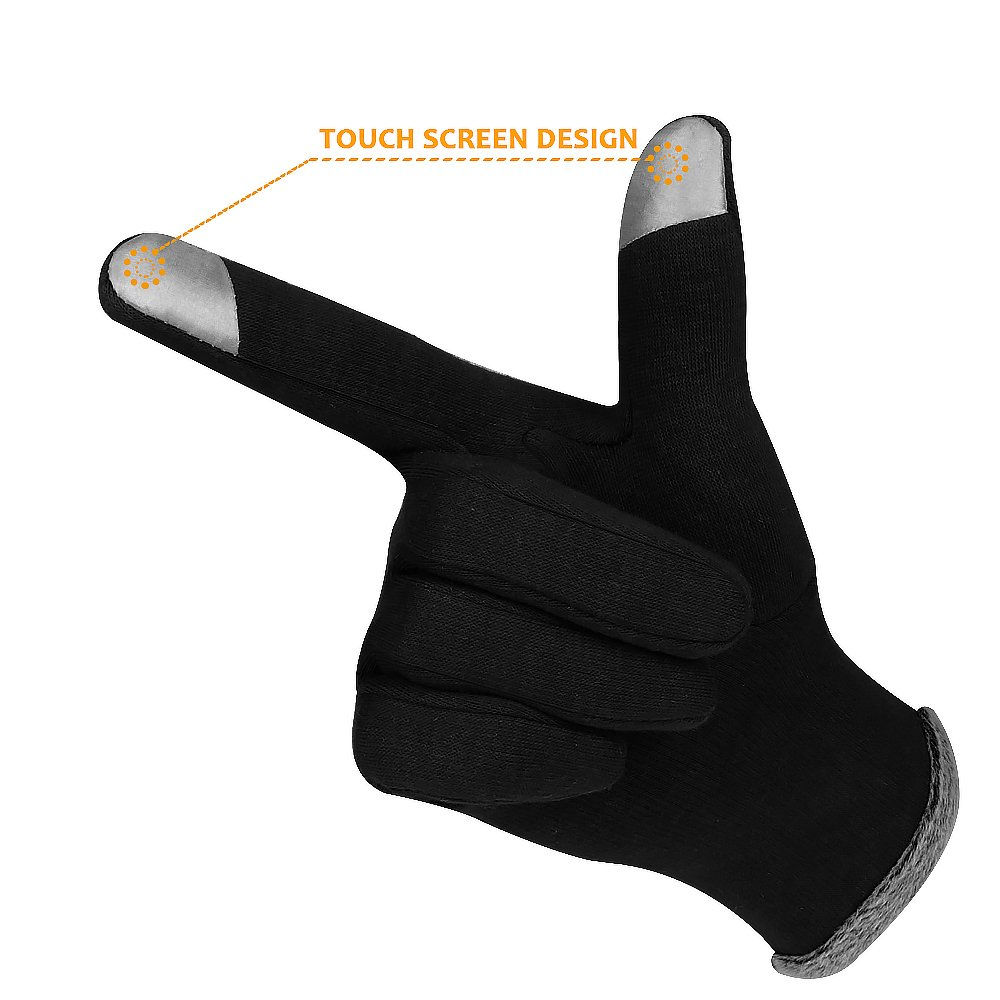 Winter Touch Screen Gloves,IEKA Thick Warmest Windproof Gloves,Fashion Touch Screen Fingers,Suitable for Smartphones and Touchscreen Devices - Black by IEKA (Image #3)