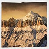 Cotton Microfiber Hand Towel,Farmhouse Decor,Surreal Saturated Photo of Italian Twin Mountain Peaks with Silent Overcast Sky,Sepia,for Kids, Teens, and Adults,One Side Printing