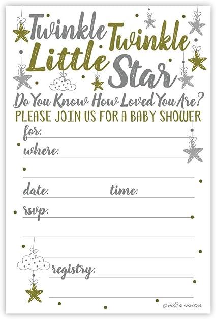 Twinkle Twinkle Little Star Baby Shower Invite E-vite Baby Shower Invite Celestial Invite Star Baby Shower Invitation Baby Shower