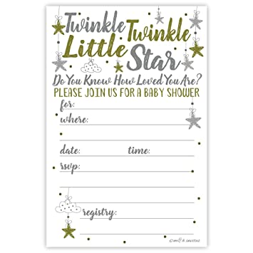 image about Free Printable Twinkle Twinkle Little Star Baby Shower Invitations named Twinkle Twinkle Small Star Child Shower Invites (20 Rely) With Envelopes