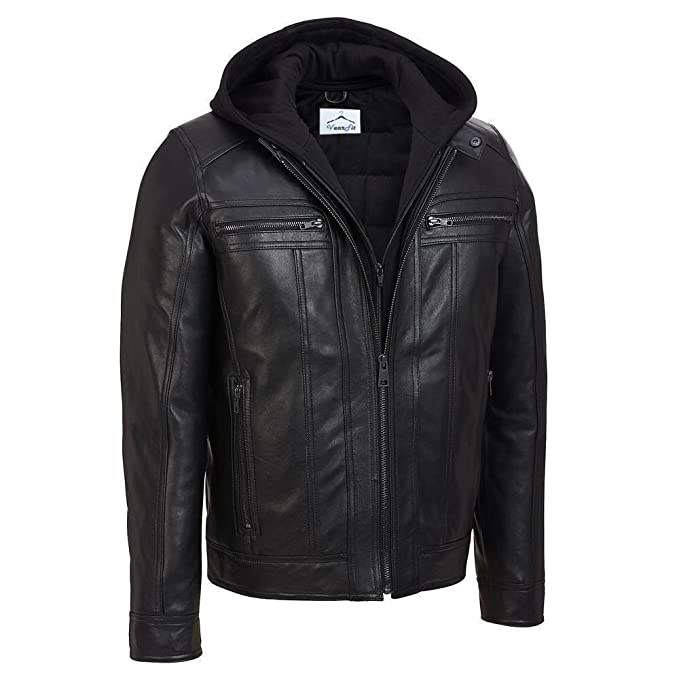 5b7f4582c VearFit Hooded Black Faux PU Leather Jacket for Men - Detachable Hood:  Amazon.ca: Clothing & Accessories