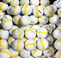 50 Premium Assorted Yellow Striped White Range Practice Golf Balls