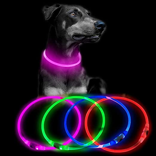 USB Rechargeable LED Dog Collar, Glow in The Dark Pet Collar, Waterproof Cuttable TPU Light Up Safety Pet Necklace, Basic Dog Collars for Small Medium Large Dogs(Pink)