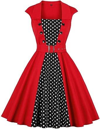 Amphia - Damska 1950er Vintage Rockabilly Kleid,Frauen Hepburn CocktailKleid - ärmellose V-Ausschnitt Button Vintage Abend Party Swing Kleid 1950er: Odzież