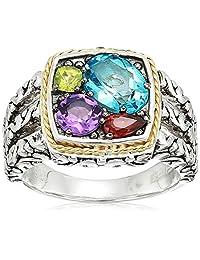 Effy Womens 925 Sterling Silver/18K Yellow Gold Amethyst, Blue Topaz, Garnet, Peridot Ring, Multi, 7