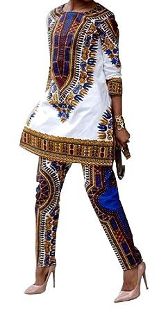 Andopa Hendidura lateral estilo africano camiseta de traje ...