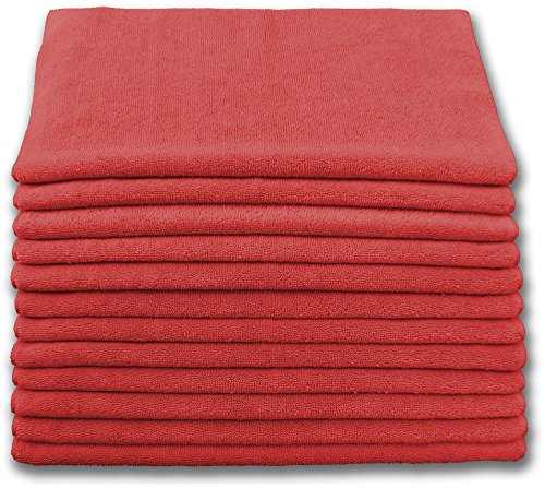 Heavy Duty Microfiber Terry Cloth 16x16 400gsm - Red Case of 180 by Direct Mop Sales, Inc.