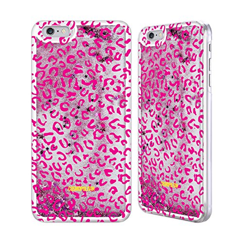 Official Cosmopolitan Pink Leopard Animal Skin Patterns Pink Liquid Glitter Case Cover for Apple iPhone 6 Plus / 6s Plus