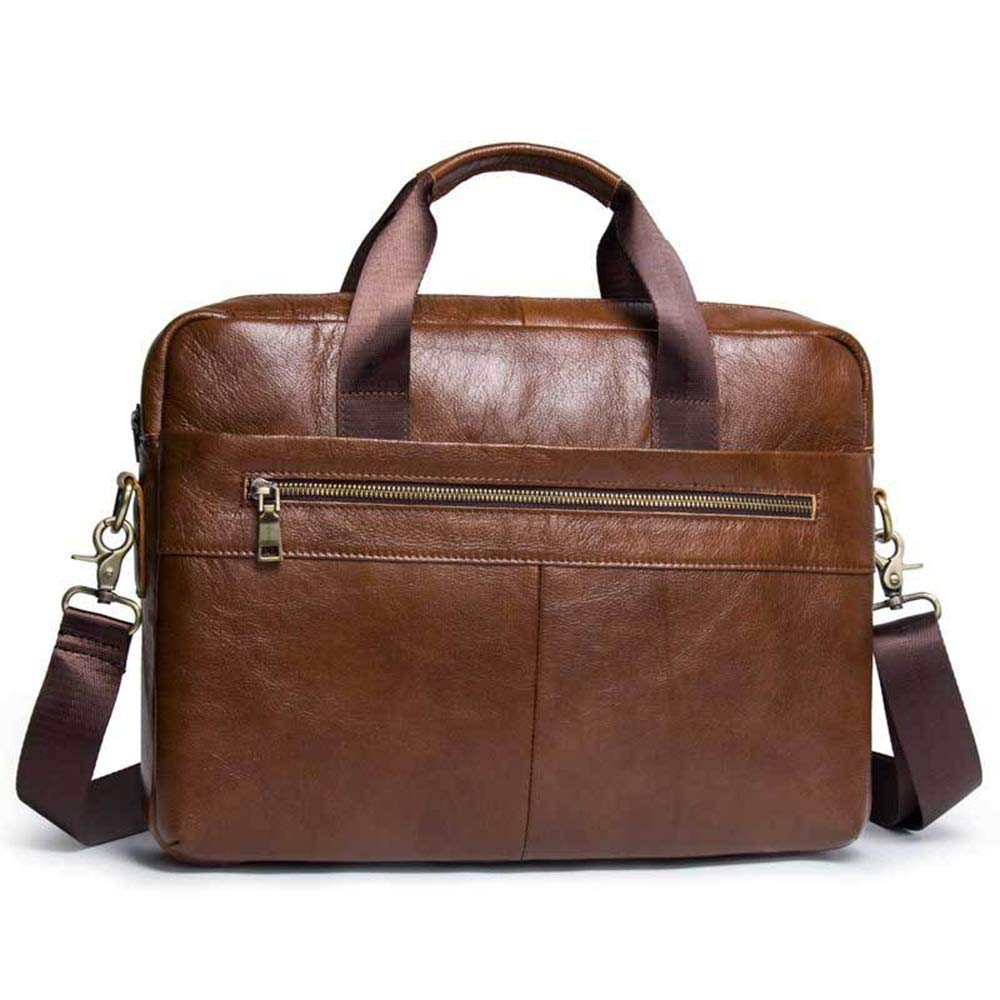 Men Leather Briefcase Men's Leather Briefcase Bag Casual Handbag Messenger Bag Handbag Business Bag 15 Inch Notebook Messenger Bag Shoulder Bag Men Vintage Leather Messenger Bag ( Color : Brown )