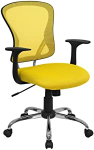 Flash Furniture Mid-Back Yellow Mesh Swivel Task Office Chair with Chrome Base and Arms