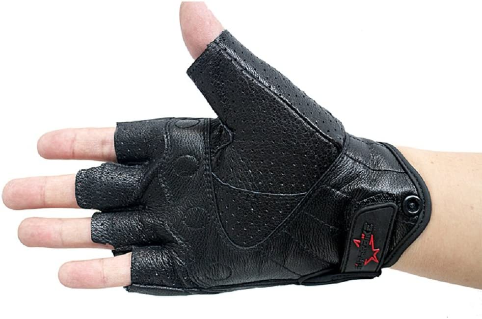 Black, XL Fingerless Motorcycle Gloves Armored Breathable Leather Riding Gloves With Perforated Hole For Men