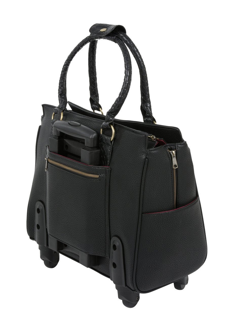 ''The Berkeley'' Black Spinner Wheel Rolling iPad Tablet or Laptop Tote Carryall Bag by JKM and Company (Image #3)