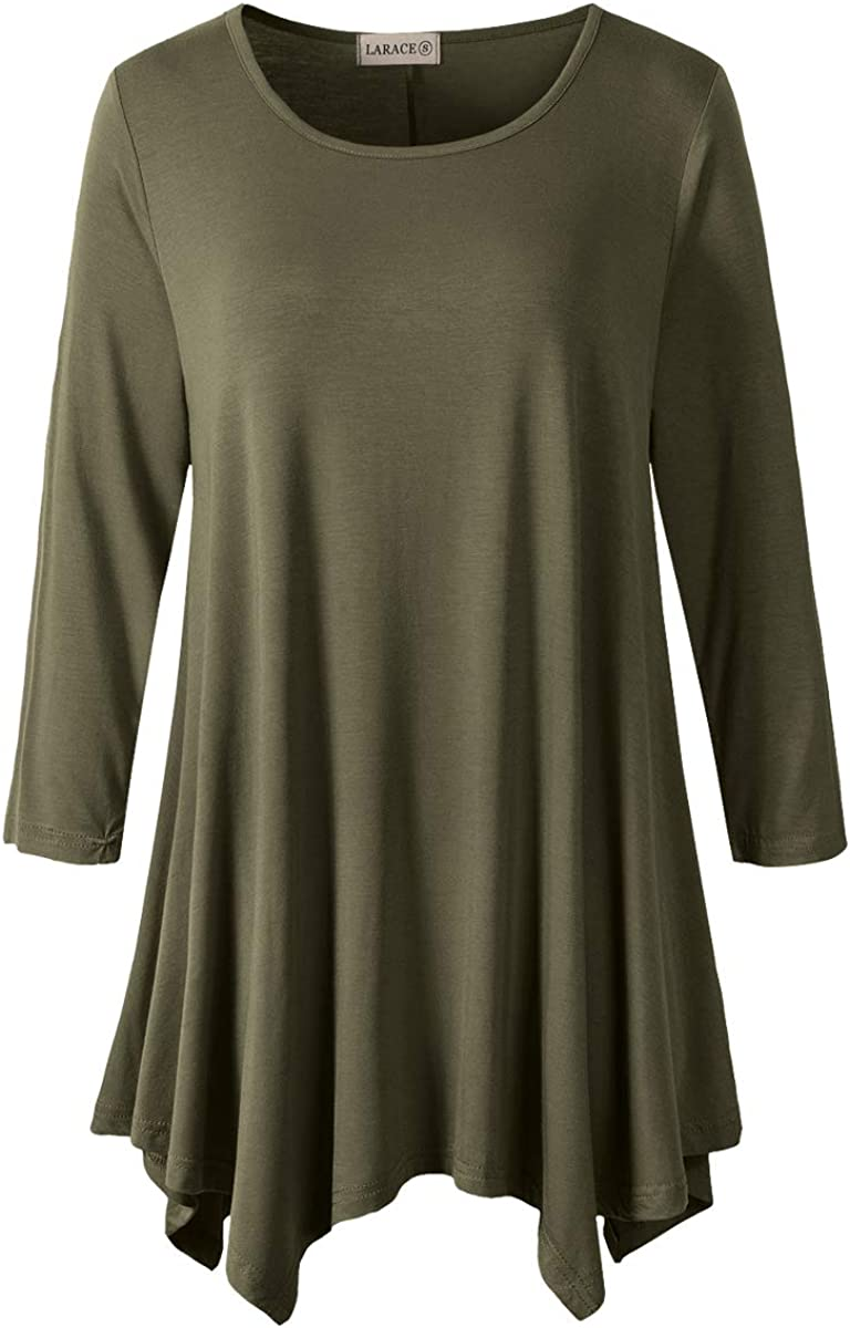 LARACE Women Plus Size 3/4 Sleeve Tunic Tops Loose Basic Shirt