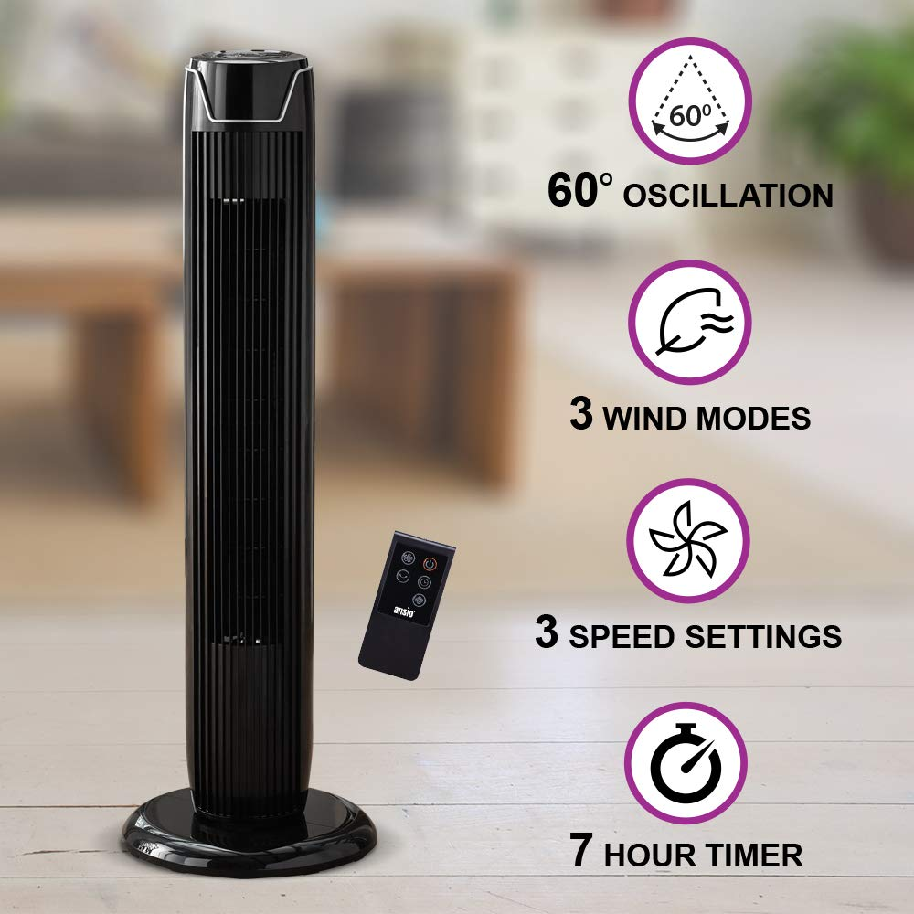 30-Inch Oscillating Tower Fan with Remote Control and 3-Speed 3-Wind Mode with Long 1.75 m Cable Grey Batteries NOT Included