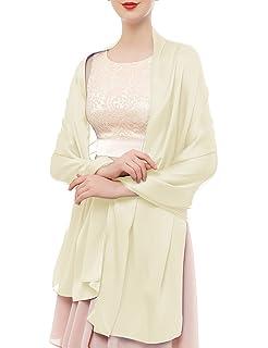 Bridesmay Femme Écharpe Châle Foulard Étole Unicolore en Soie Artificiel  pour Mariage Soirée Cérémonies Fêtes 180cm 61363c36aab