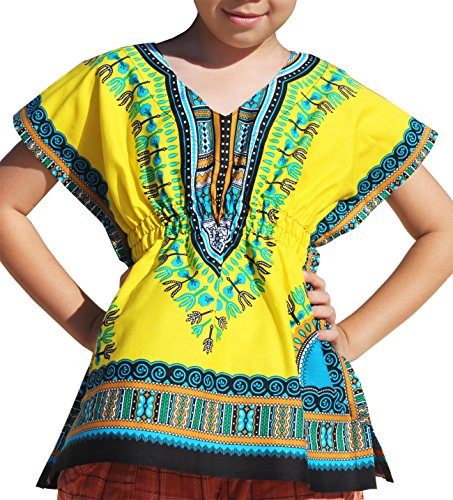 ahMuang Childrens Afrikan Pull In Bright Dashiki Print V-Neck Cotton Shirt, Medium, Yellow (Cotton Dashiki)