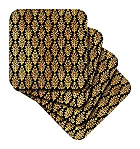 3dRose Faux Gold Long Damask on A black Background - Soft Coasters, Set of 8 (cst_222300_2)