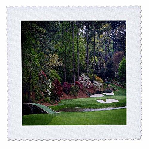 3dRose qs_131410_5 Augustas Amen Corner Golf Course Golfers on Bridge Quilt Square, 14 by 14-Inch (Corner Quilt Fabrics)