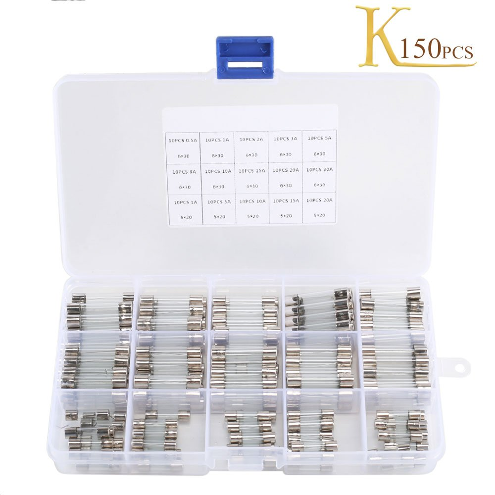 Fast-Blow Glass Fuses KINDPMA 150 Pcs Quick Blow Car Glass Tube Fuse Assorted Kit Amp 250V 0.5A 1A 2A 3A 5A 8A 10A 15V 20A 30A 6x30mm 250V 1A 5A 10A 15A 20A 5x20mm Motorbike Electronic Repair