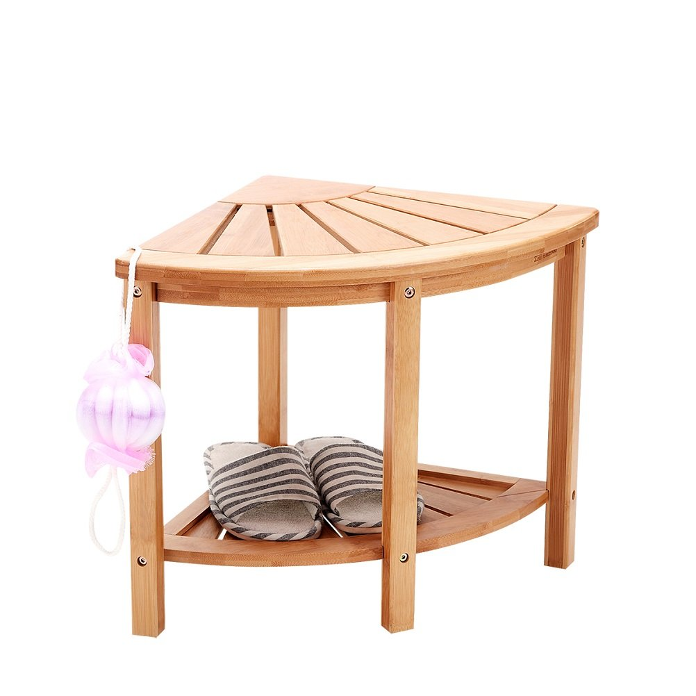 Shower Bench Stool Bamboo Mildew Proof Corner Storage with 2 Tire ...