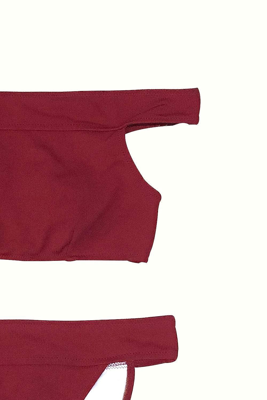d6a99b6e6dbe5 Amazon.com: CUPSHE Women's Ruby Red Off The Shoulder High Leg Cut Bikini:  Clothing