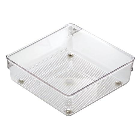 InterDesign Linus Organizador de cajones, cubertero para cajones de cocina mediano en plástico para guardar cubiertos y otros utensilios, transparente