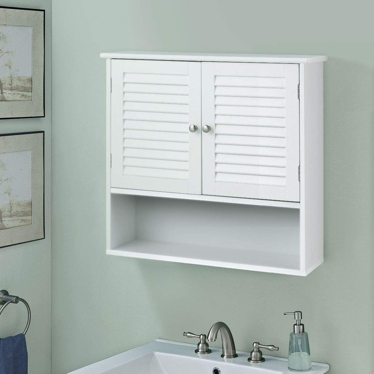 WATERJOY Storage Cabinet, Bathroom Wall Cabinet with Shutter Doors and Shelves, Cabinet Cupboard for Bathroom, Kitchen Room and Living Room, White