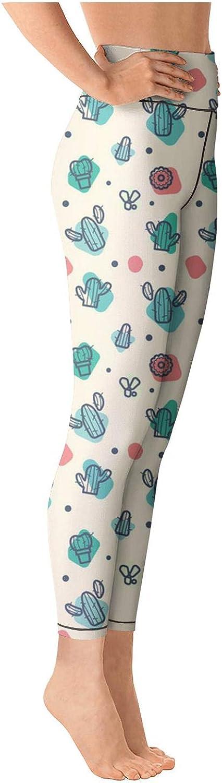 Womens Ladies Yoga Pants Small Cactus Drawing Cozy Elastic Hot Yoga Pants Yoga Sports Bra