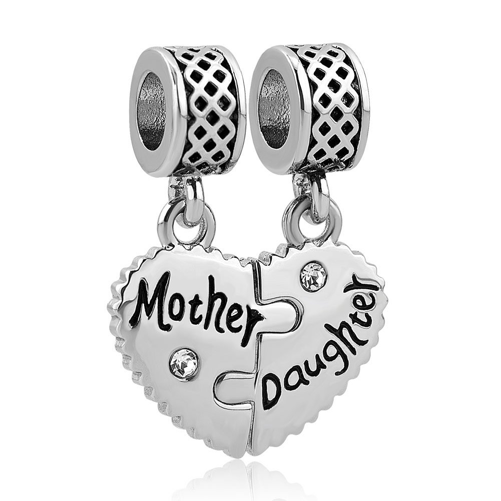 SexyMandala Heart Mother Daughter Son Family Mothers Day Love Charms Dangle Bead for Bracelets pandöra charms SM_DPC_MY802_2