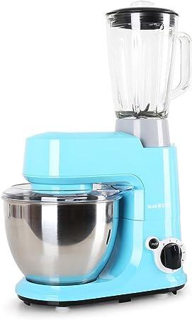 Klarstein Carina Azzura Set Robot de cocina multifunción con batidora de vaso de 1,5L (800W, 4 L, 6 niveles, monta claras, amasadora, mezcladora, tapa extraible, seguridad) Azul: Amazon.es: Hogar