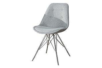 Dunord Design Esszimmerstuhl Stuhl New Stockholm Grau Strukturstoff