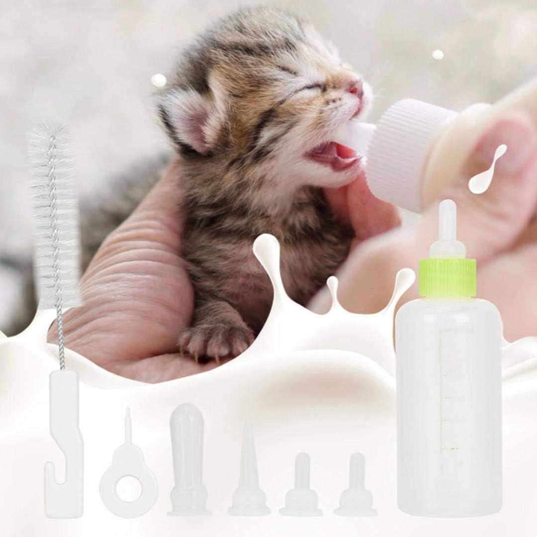 Wuddi - Botella de leche de silicona duradera, 60 ml, para recién nacidos, bebés, leche, para perros pequeños, cachorros, gatos, leche, leche, cebador, con brocha
