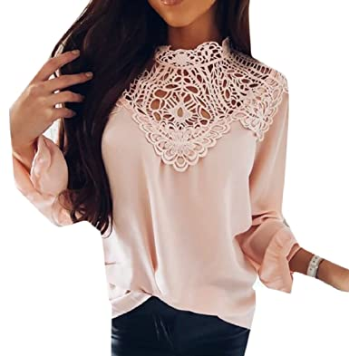 f899109c89aa36 ZXFHZS Women Loose Fit Sexy Long Sleeves Casual Lace Splicing Blouse Tops  at Amazon Women's Clothing store: