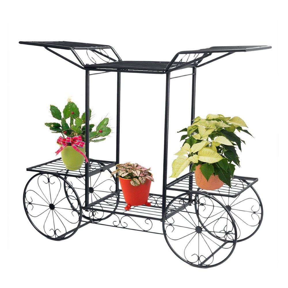 Dazon Hierro Flores Escaleras Flores estanterías Planta Soporte 67 cm Con 6 cestas taburete Flores Estantería: Amazon.es: Hogar